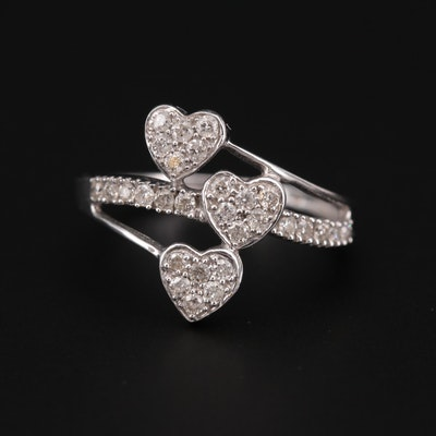 14K White Gold Triple Heart Diamond Ring