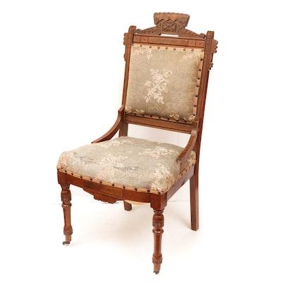 Victorian Walnut and Burl Walnut Side Chair, Late 19th Century