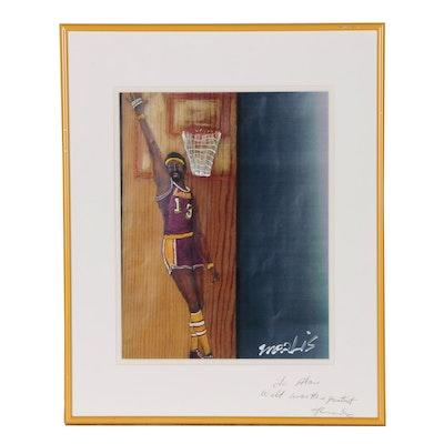 Mixed Media Portrait of L.A. Lakers Wilt Chamberlain