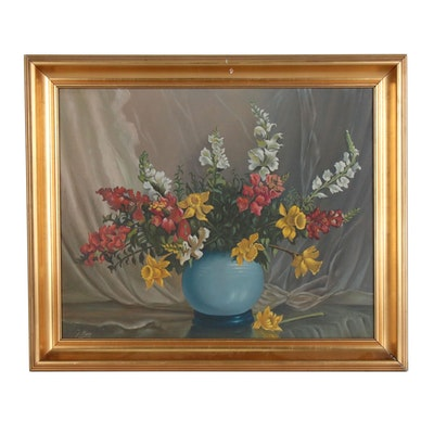 Floral Still Life Oil Painting, Late 20th Century