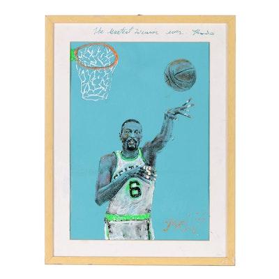 "Mixed Media Portrait of Boston Celtics Bill Russell ""The Greatest Winner Ever"""