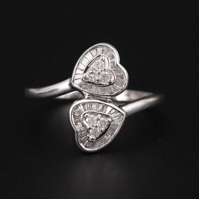 14K White Gold Diamond Heart Bypass Ring