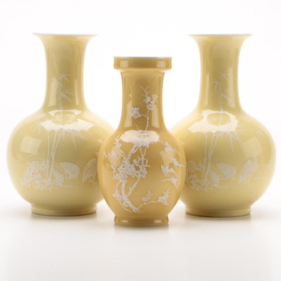 Chinese Yellow Pâte-sur-pâte Porcelain Baluster Vases, Late 20th Century