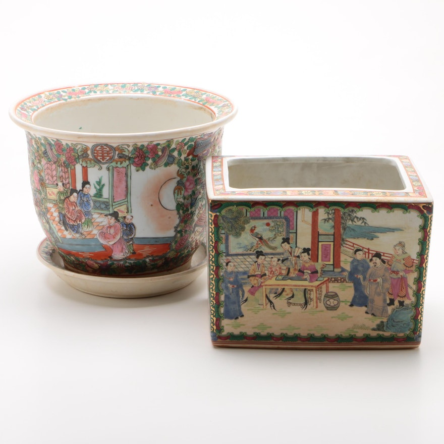 Chinese Rose Medallion Porcelain Planter and Cache Pot, Mid-20th Century