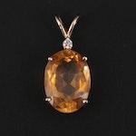 14K Yellow Gold Citrine and Diamond Pendant