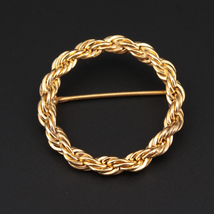 Gold Filled Concentric Twisted Rope Chain Brooch