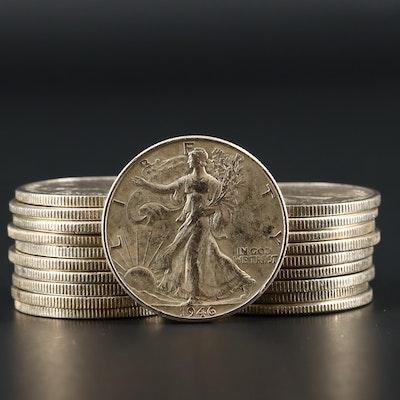Twenty Walking Liberty Silver Half Dollars Ranging from 1935-1946