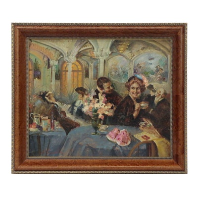 Café Scene Oil Painting, Late 20th Century