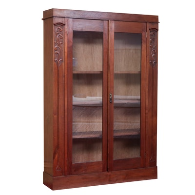 Late Victorian Carved Walnut and Glazed-Door Bookcase, Late 19th/Early 20th C.