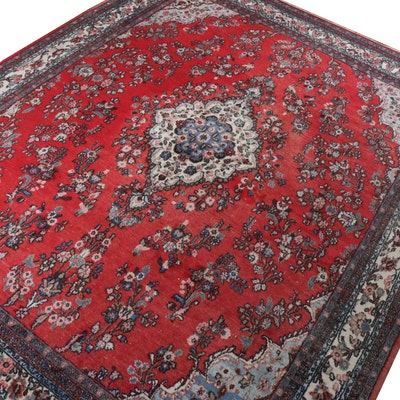 10'7 x 11'8 Hand-Knotted Persian Sarouk Room-Size Rug, Vintage