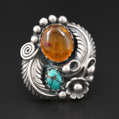 Southwestern Style Sterling Silver, Amber and Turquoise Ring with Floral Motif