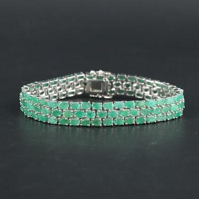 Sterling Silver Emerald Triple Row Bracelet