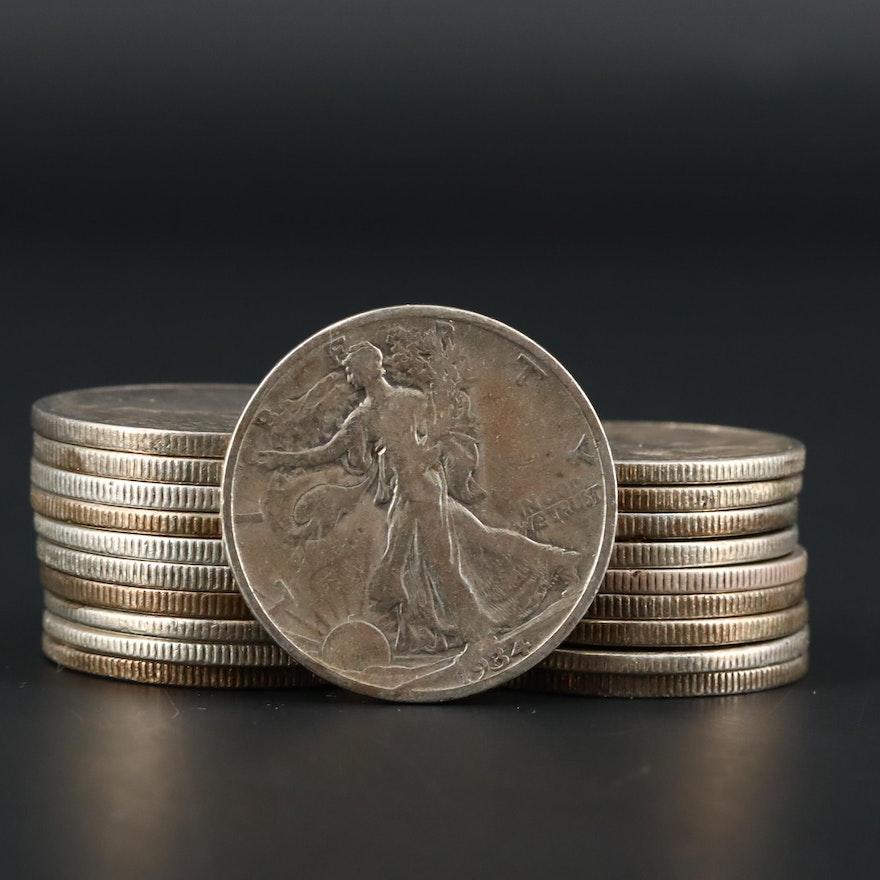 Twenty Walking Liberty Silver Half Dollars Ranging from 1934-1947