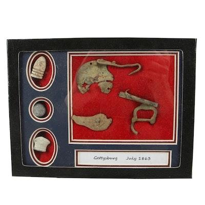 Framed Gettysburg July 1863 Bullets and Metal Fragments