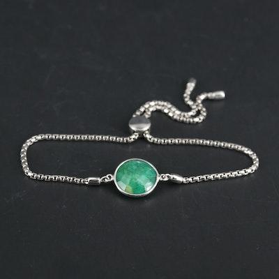 Sterling Silver Emerald Bolo Style Bracelet
