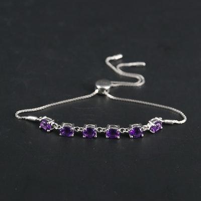 Sterling Silver Amethyst Bolo Style Bracelet