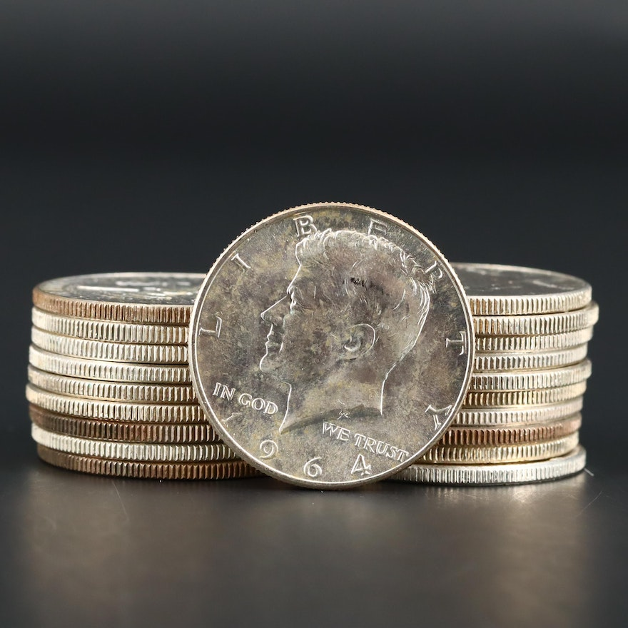 Twenty Uncirculated 1964 JFK Silver Half Dollars
