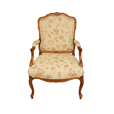 House of France Louis XV Style Carved Arm Chair