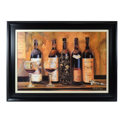 Mark Hagen Offset Lithograph of Wine Bottles
