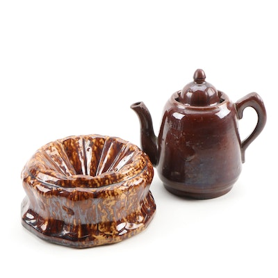 American Rockingham Brown Glaze Teapot and Spittoon
