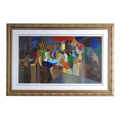 "Itzchak Tarkay Serigraph ""Night Cafe"""