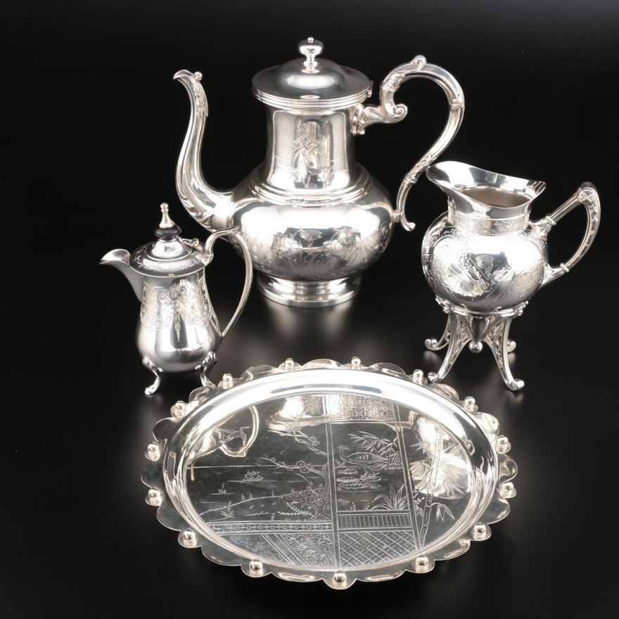 Henry Wilkinson Old Sheffield Plate Coffee Pot with other Coffee Service Pieces