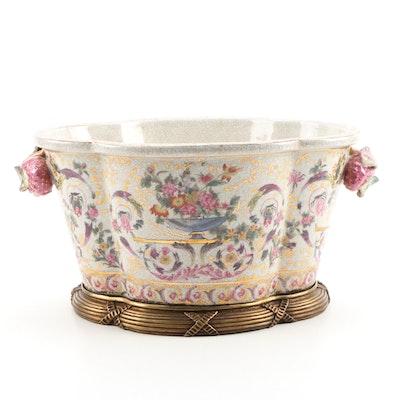 United Wilson Porcelain Quatrefoil Planter with Strawberry Handles