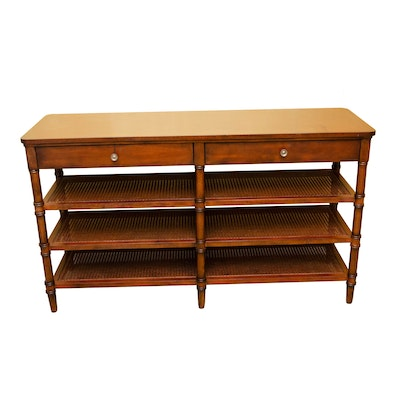 Bernhardt Console Table with Drawers and Cane Shelves