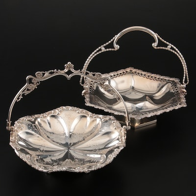 Meridan and Wilcox Victorian Silver Plate Cake Baskets, Late 19th Century
