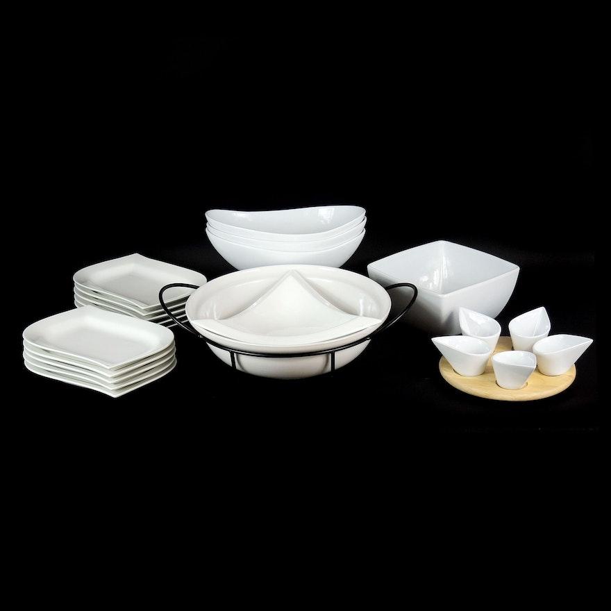"Over and Back ""White Elegance"" Porcelain Bowls and Other Serveware"