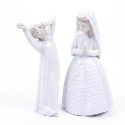 "Nao by Lladró ""First Communion"" and Lladró ""Sleepy Boy"" Porcelain Figurines"