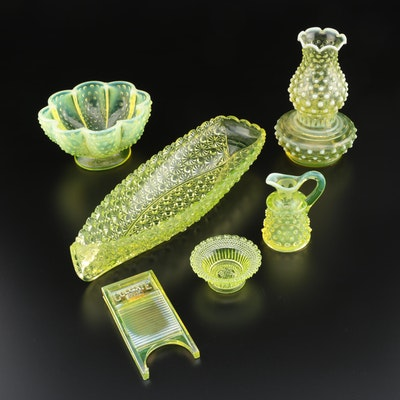 Opalescent Hobnail Vaseline Glass Table Décor and More