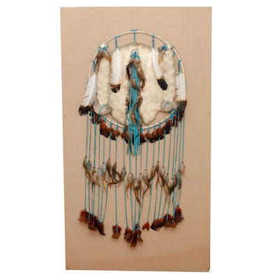 Handcrafted Dream Catcher with Golden Eagle Feathers and Rabbit Fur