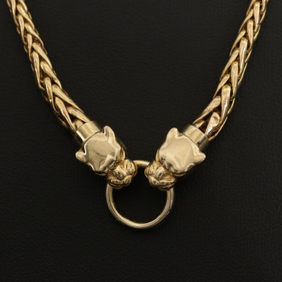 14K Yellow Gold Double Panther Head Espiga Chain Necklace