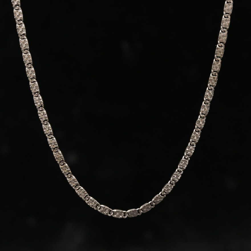 14K White Gold Textured Fancy Link Chain Necklace with 18K White Gold Clasp