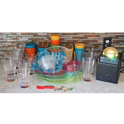 ION Party Power Speaker with Plastic Glasses, Serving Trays, and Stirrers