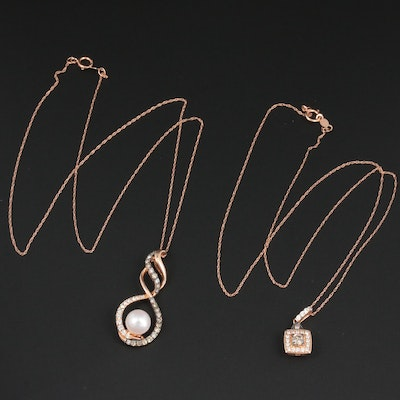 14K Rose Gold Diamond and Cultured Pearl Pendant Necklaces Featuring Le Vian