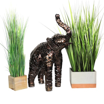 Metal Elephant Sculpture and Artificial Tall Grass Plants