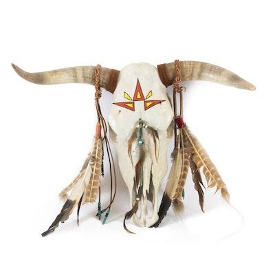 Native American Style Decorated Buffalo Skull