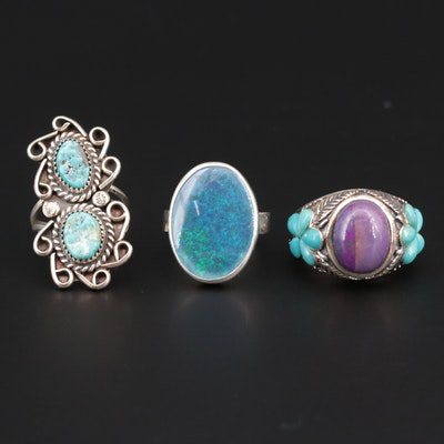 Sterling Silver Rings with Turquoise, Sugilite and Opal Triplet