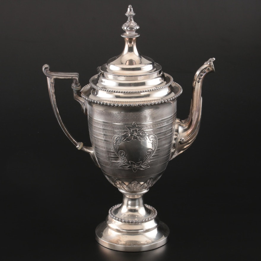 Reed & Barton Neoclassical Silver Plate Coffee Pot, Late 19th Century
