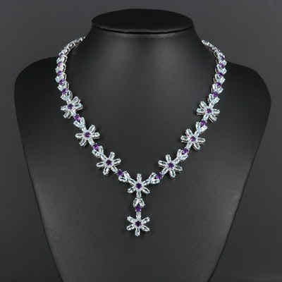 Sterling Silver Topaz and Amethyst Flower Necklace