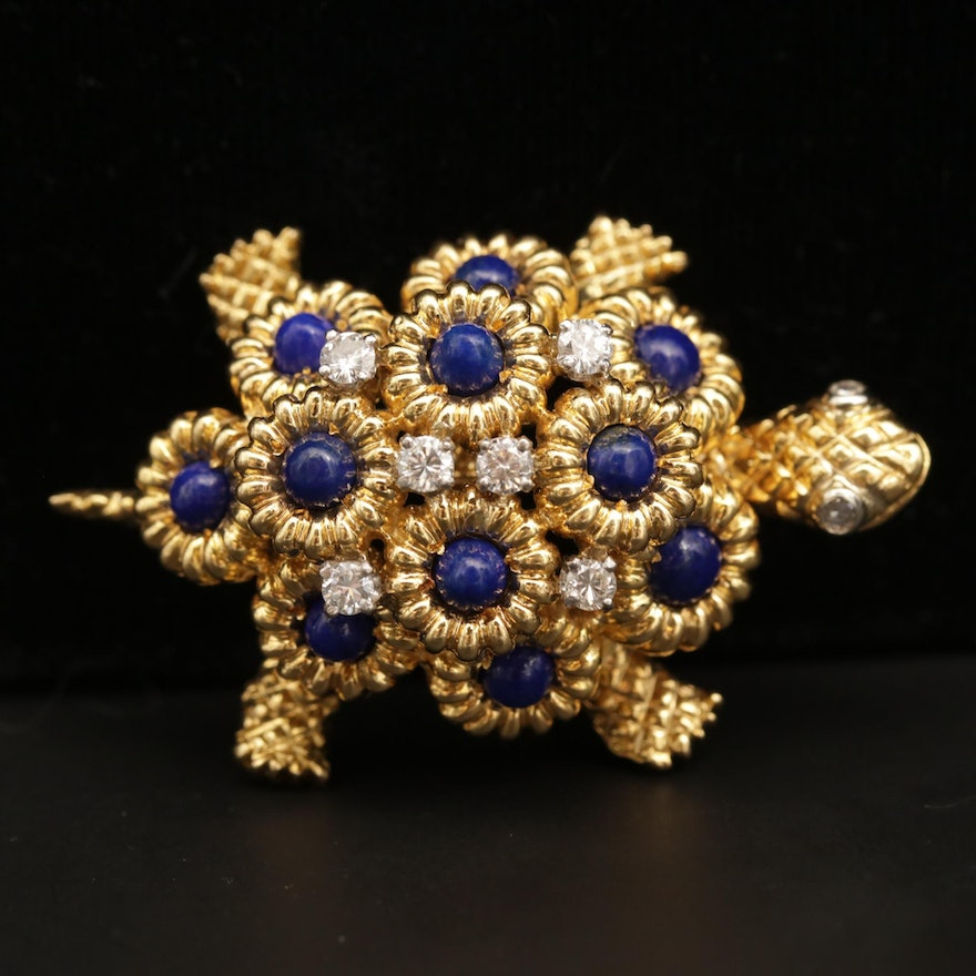 18K Yellow Gold Diamond and Lapis Lazuli Tortoise Brooch