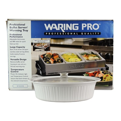 Waring Pro Professional Buffet Server and Corning Ware Lidded Serving Dish