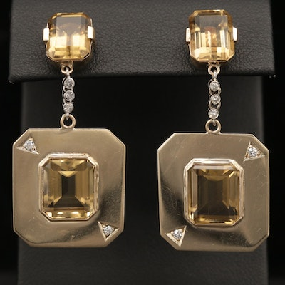 14K Yellow Gold Citrine and Diamond Drop Earrings with Palladium Accents