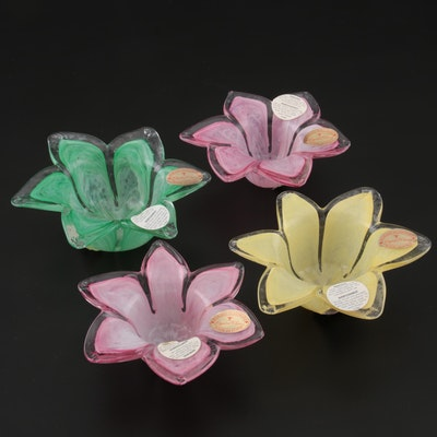 Crystal Clear Murano Glass Floral Votive Holders