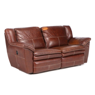 As-Z-Boy Leather Love Seat, Contemporary