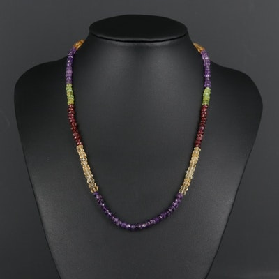 Sterling Silver Amethyst, Citrine, Garnet and Peridot Graduated Bead Necklace