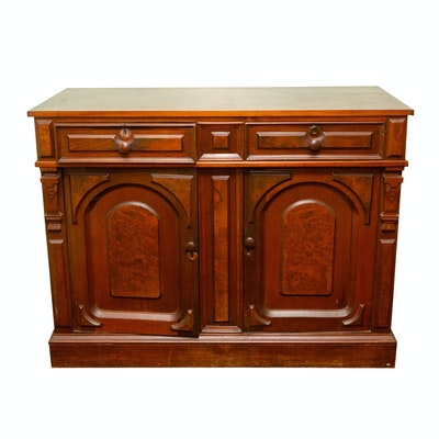 Victorian Walnut and Burl Walnut Sideboard, Late 19th Century