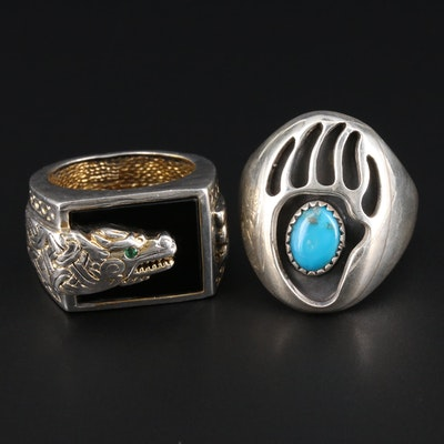 Sterling Silver Rings with Turquoise and Black Onyx